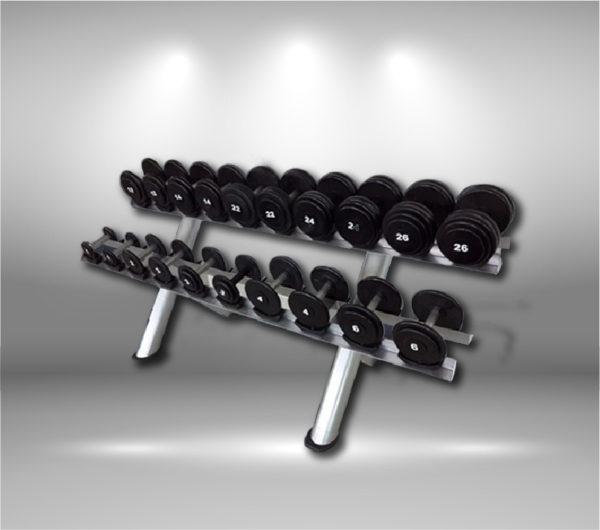 Rack con 10 pares de mancuernas